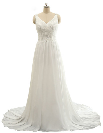 Custom V-Neck Sweep Train Plus Size Chiffon Wedding Dress with Straps