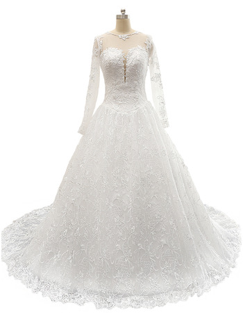 Modest A-Line Court Train Plus Size Lace Wedding Dress with Long Sleeves