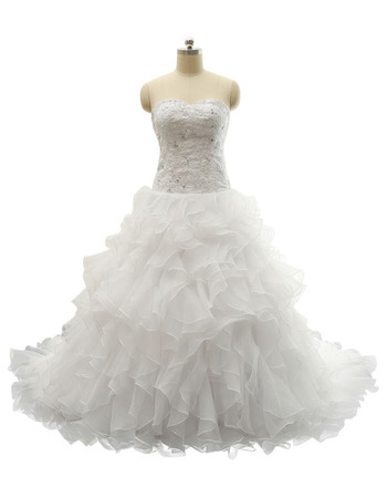 Gorgeous A-Line Sweetheart Sweep Train Ruffle Skirt Plus Size Wedding Dress