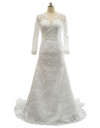 Classic V-Neck Floor Length Plus Size Lace Wedding Dress with Long Sleeves