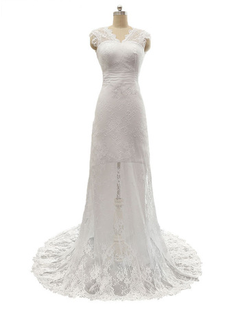 Elegant Sheath V-Neck Sleeveless Sweep Train Lace Wedding Dress