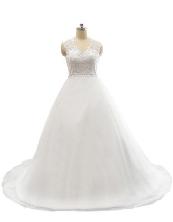Custom A-Line V-Neck Court Train Satin Organza Plus Size Wedding Dress