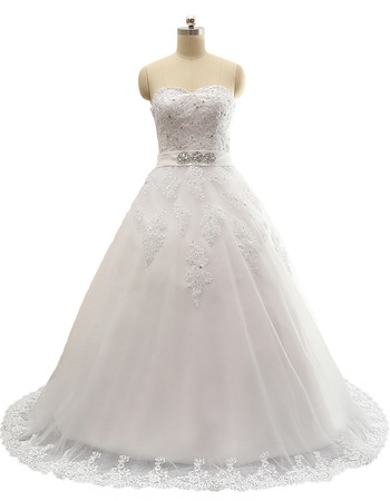 2018 Ball Gown Sweetheart Sweep Train Satin Plus Size Wedding Dress