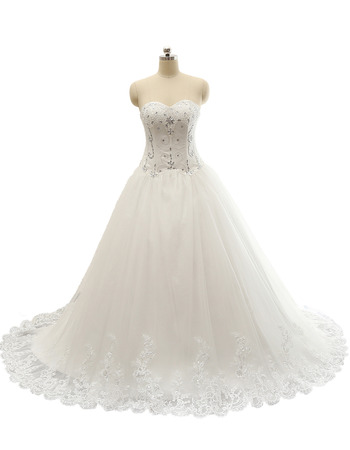 Classic Sweetheart Chapel Train Satin Organza Plus Size Wedding Dress