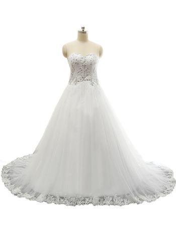 Women's Sweetheart Chapel Train Satin Organza Plus Size Wedding Dress