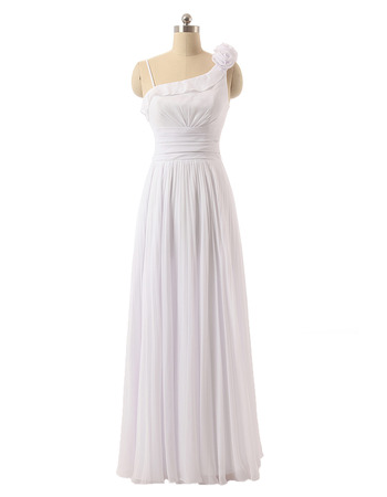 Stylish One Shoulder Floor Length Chiffon Asymmetric Wedding Dress