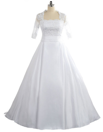 2018 Square Floor Length Taffeta Plus Size Wedding Dress with Half Sleeves