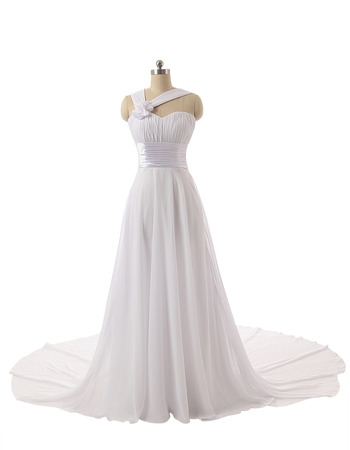 Elegant Sweetheart Long Chiffon Wedding Dress with Straps