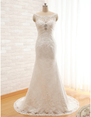 Modest Sheath Sleeveless Sweep Train Satin Organza Wedding Dress