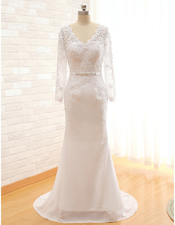 2018 V-Neck Sweep Train Plus Size Wedding Dress with Long Sleeves