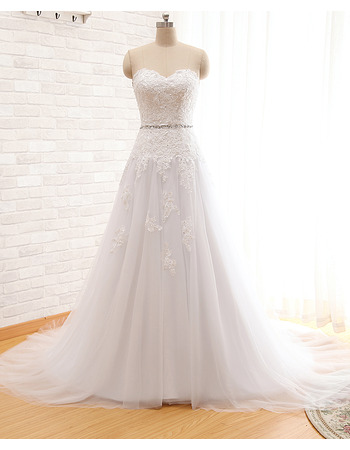 Modern A-Line Sweetheart Court Train Organza Wedding Dress