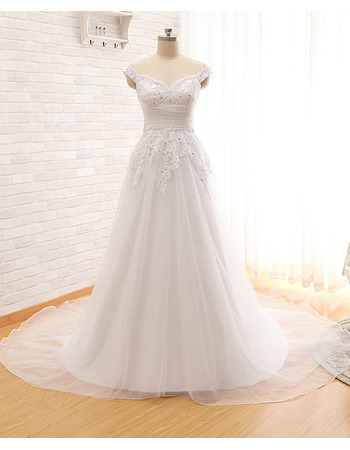Beautiful Sweetheart Court Train Organza Wedding Dress with Straps