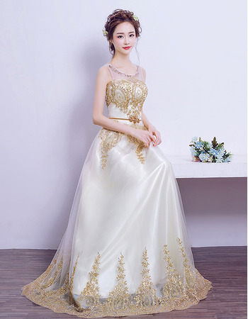 Amazing Floor Length Satin Organza Embroidery Wedding Dress