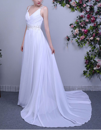 2018 Simple V-Neck Sleeveless Sweep Train Chiffon Wedding Dress