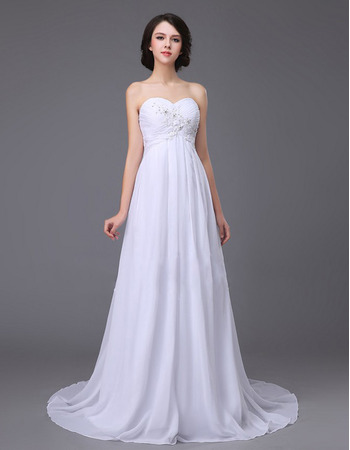 Simple Sweetheart Sweep Train Chiffon Empire Waist Wedding Dress ...