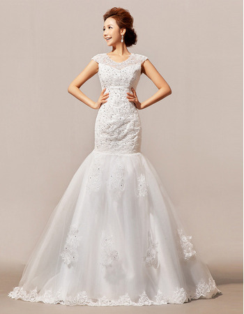 Designer Trumpet Floor Length Satin Organza Beading Wedding Dress