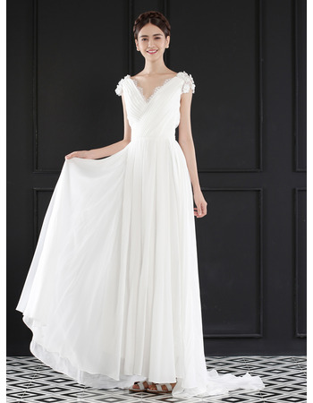 2018 Chic V-Neck Floor Length Chiffon Wedding Dress with Short Sleeves