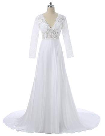 Classic V-Neck Satin Wedding Dress with Long Lace Sleeves