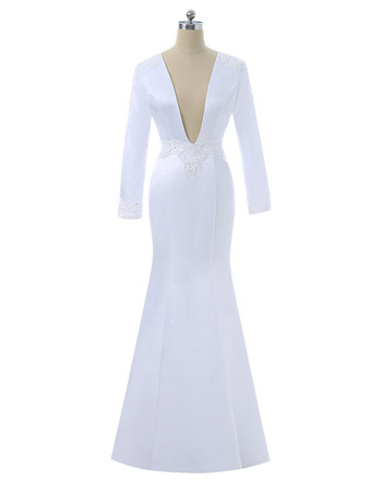 Chic Mermaid V-Neck Floor Length Satin Wedding Dress with Long Sleeves