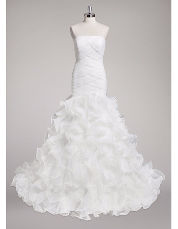 Gorgeous Sheath Strapless Sweep Train Organza Ruffle Skirt Wedding Dress