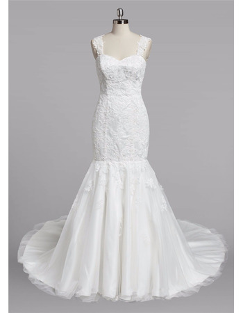 Stunning Trumpet Sweetheart Straps Sweep Train Lace Wedding Dress