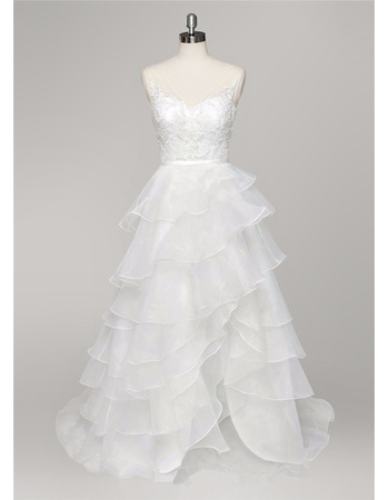 Stylish V-Neck High-Low Organza Layered Skirt Wedding Dress with Straps