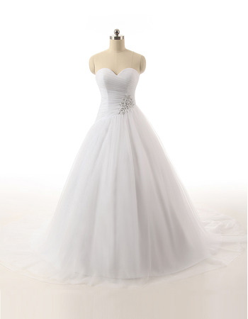 Classic Ball Gown Sweetheart Floor Length Satin Organza Wedding Dress