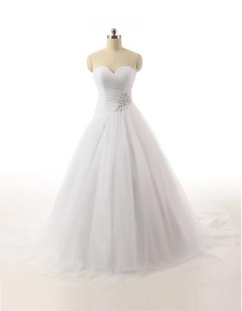 Classic Ball Gown Sweetheart Floor Length Satin Organza Wedding Dress