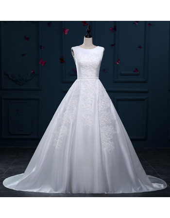 Classic Ball Gown Sleeveless Sweep Train Satin Wedding Dress