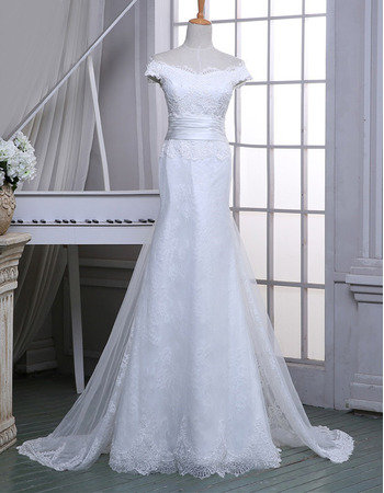 Designer Sheath Off-the-shoulder Floor Length Lace Wedding Dress