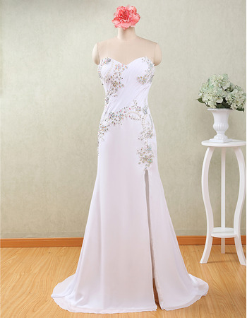 Modern Column Sweetheart Floor Length Chiffon Wedding Dress