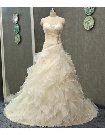 Gorgeous Sweetheart Sweep Train Organza Ruffle Skirt Wedding Dress