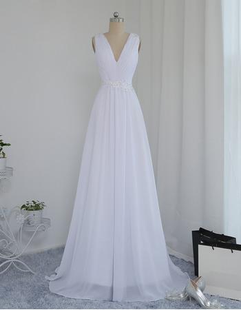 Elegant V-Neck Sleeveless Sweep Train Chiffon Wedding Dress