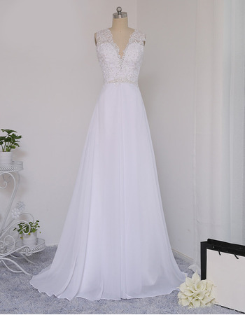 2018 Sexy V-Neck Sleeveless Sweep Train Chiffon Wedding Dress