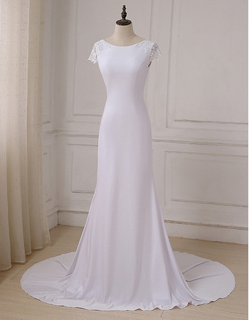 Modest Sheath Sweep Train Satin Wedding Dress with Short Sleeves