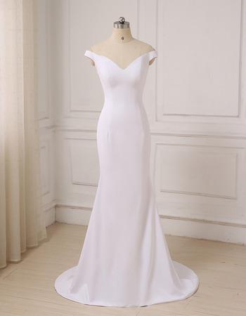 Moern Sheath Off-the-shoulder V-Neck Long Satin Wedding Dress