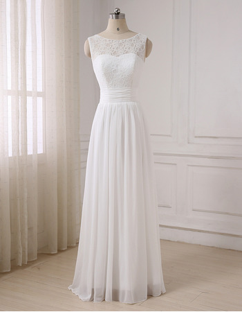 Simple Classic A-Line Sleeveless Full Length Lace Chiffon Wedding Dress