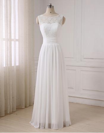 Simple Classic A-Line Sleeveless Full Length Lace Chiffon Wedding Dress