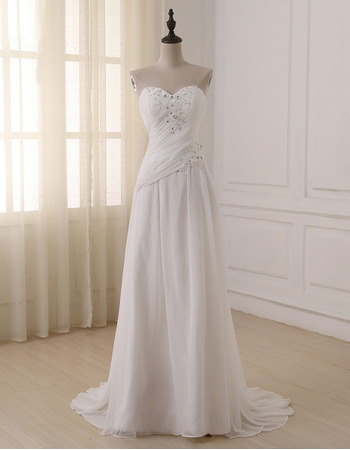 Elegant Sweetheart Sleeveless Sweep Train Chiffon Wedding Dress