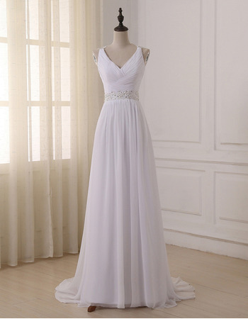 Elegant V-Neck Sleeveless Sweep Train Chiffon Wedding Dress