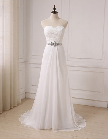 Modern Sweetheart Floor Length Chiffon Lace-Up Wedding Dress
