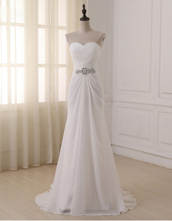 2018 Elegant Sweetheart Floor Length Chiffon Lace-Up Wedding Dress