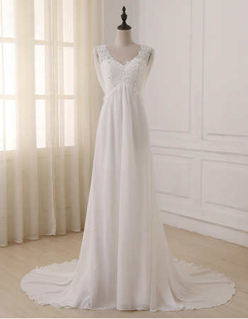 Elegant Empire V-Neck Sleeveless Sweep Train Chiffon Wedding Dress
