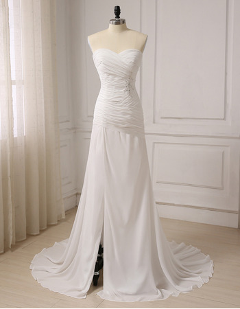 Stylish Sweetheart Sweep Train Chiffon Wedding Dress with Slit
