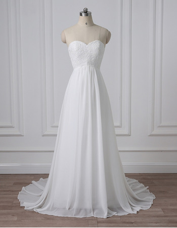 Classy Simple Sweetheart Sleeveless Sweep Train Chiffon Wedding Dress