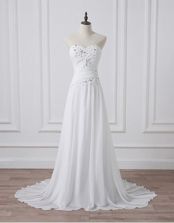 Simple Classy Sweetheart Sleeveless Sweep Train Chiffon Wedding Dress