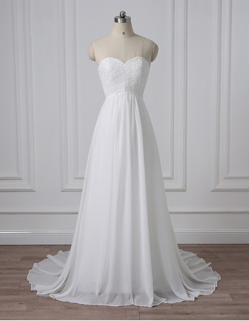 Simple Modern Sweetheart Sleeveless Sweep Train Chiffon Wedding Dress