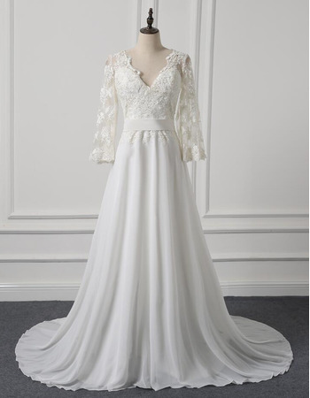 Modern V-Neck Sweep Train Chiffon Plus Size Wedding Dress with 3/4 Long Sleeves