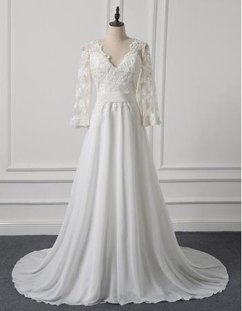 Modern V-Neck Sweep Train Chiffon Plus Size Wedding Dress with 3/4 Long Sleeves