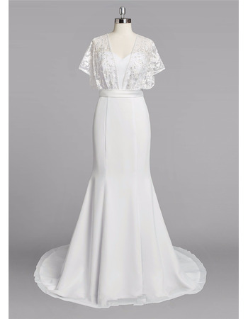 2018 Chic Sweetheart Long Chiffon Plus Size Wedding Dress with Short Sleeves